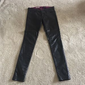 AG super skinny faux leather jeans